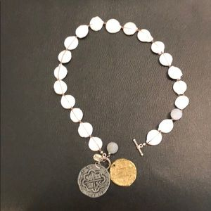 Julio freshwater pearl, geodes, coin necklace.